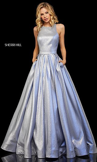 Metallic High-Neck A-Line Prom Dress with Pockets