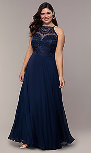 Image of plus-size embroidered-bodice long formal prom dress. Style: NA-Y135P Front Image
