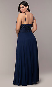 Image of plus-size embroidered-bodice long formal prom dress. Style: NA-Y135P Back Image