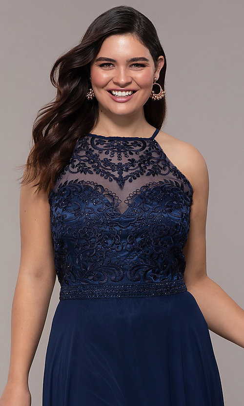 Image of plus-size embroidered-bodice long formal prom dress. Style: NA-Y135P Detail Image 1