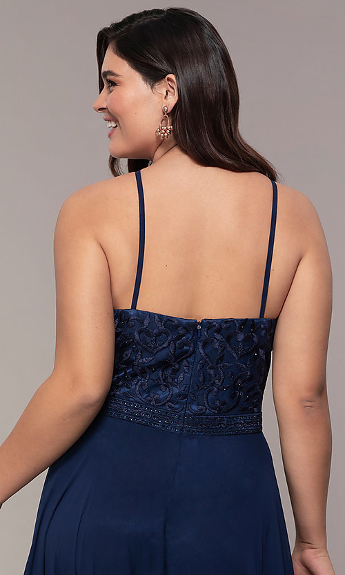 Image of plus-size embroidered-bodice long formal prom dress. Style: NA-Y135P Detail Image 2