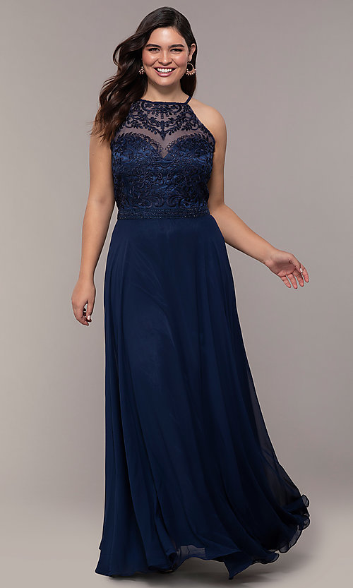Image of plus-size embroidered-bodice long formal prom dress. Style: NA-Y135P Detail Image 3