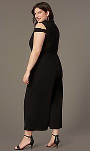 Image of cropped-leg cold-shoulder plus-size party jumpsuits. Style: SY-IXB-1536AP Back Image