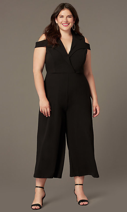 Image of cropped-leg cold-shoulder plus-size party jumpsuits. Style: SY-IXB-1536AP Front Image