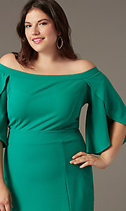 Image of off-shoulder plus-size short wedding-guest dress. Style: SY-IXD-6320AP Detail Image 1