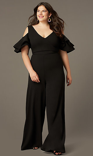 Cold-Shoulder Plus-Size Wedding-Guest Jumpsuit