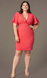 Image of empire-waist short plus-size wedding-guest dress. Style: SY-IXD-6498AP Front Image