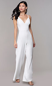 Image of strappy-open-back v-neck jumpsuit for parties. Style: SY-IB-1449AP Front Image