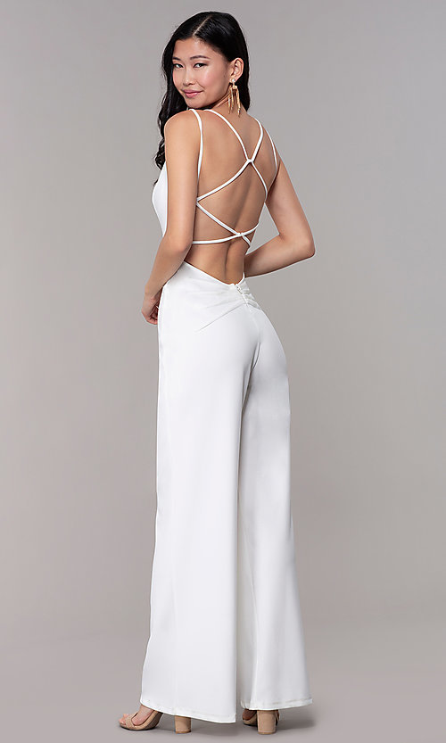 Image of strappy-open-back v-neck jumpsuit for parties. Style: SY-IB-1449AP Back Image