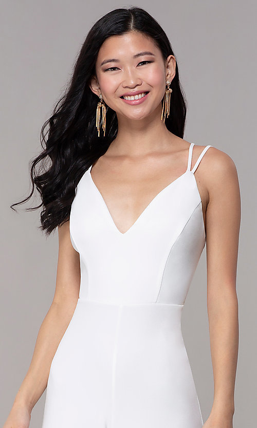 Image of strappy-open-back v-neck jumpsuit for parties. Style: SY-IB-1449AP Detail Image 1