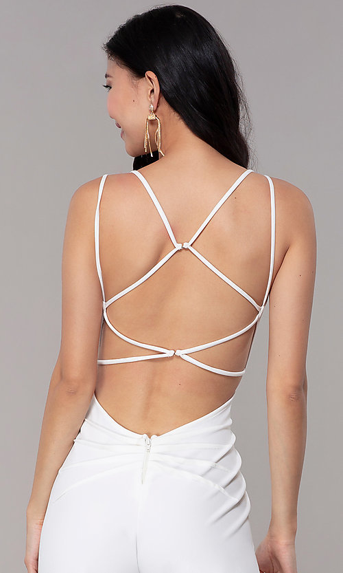 Image of strappy-open-back v-neck jumpsuit for parties. Style: SY-IB-1449AP Detail Image 2