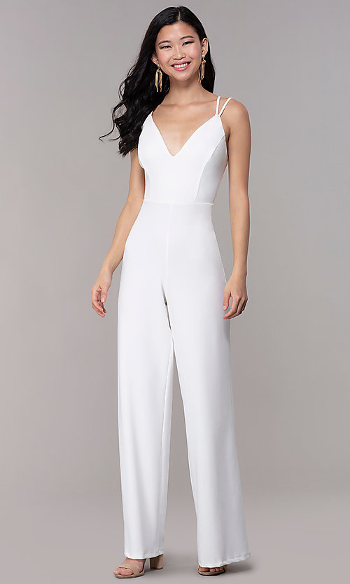 Image of strappy-open-back v-neck jumpsuit for parties. Style: SY-IB-1449AP Detail Image 3