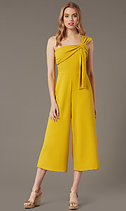 Image of one-shoulder cropped-leg party jumpsuit. Style: SY-IB-1462AP Front Image