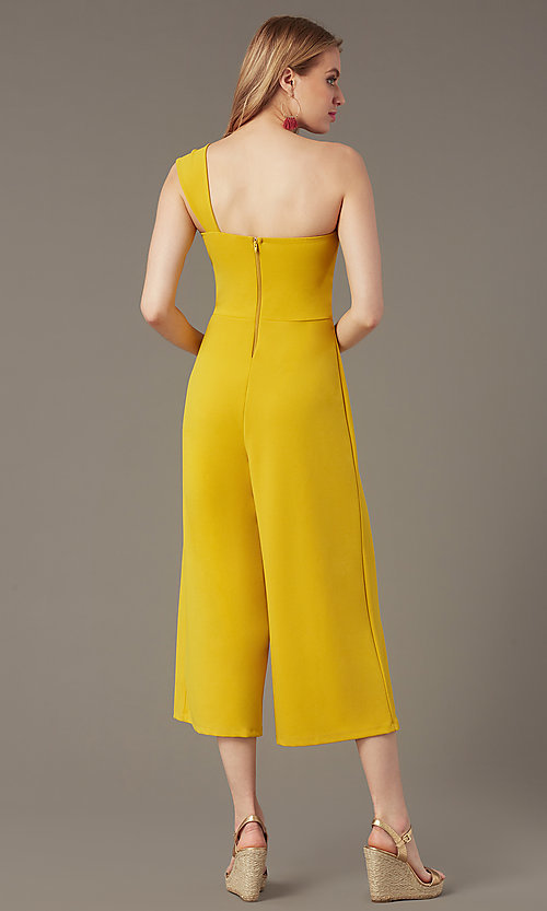 Image of one-shoulder cropped-leg party jumpsuit. Style: SY-IB-1462AP Back Image
