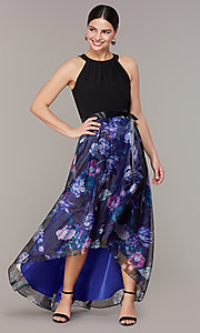 Image of high-low floral-print-skirt wedding-guest dress. Style: IT-9141182 Front Image