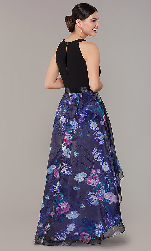 Image of high-low floral-print-skirt wedding-guest dress. Style: IT-9141182 Back Image