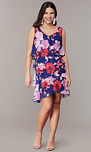Image of short purple floral-print wedding-guest dress. Style: IT-9171328 Front Image
