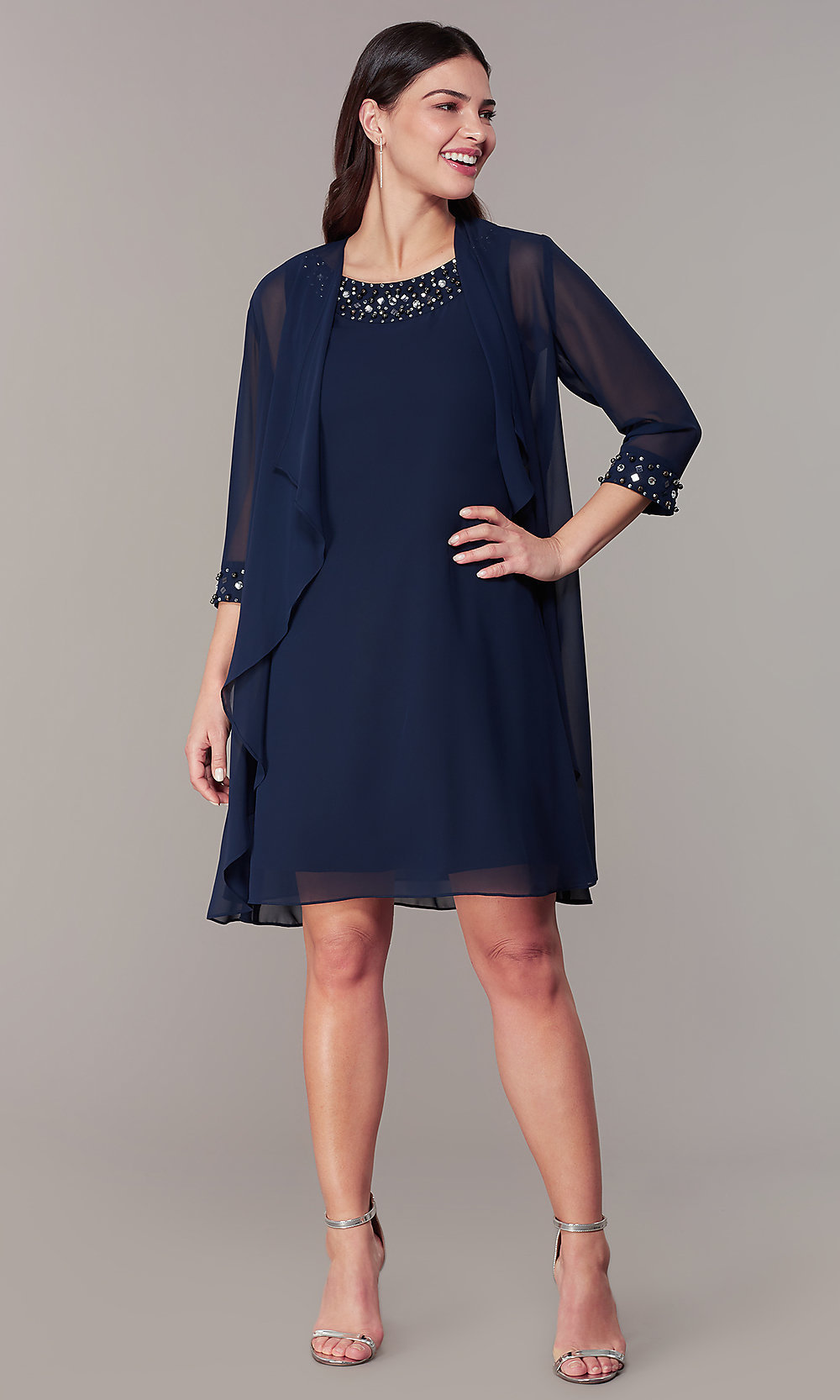later on feet at catch Short Wedding-Guest Shift Dress with Jacket