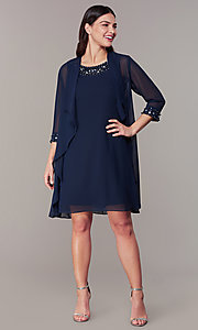 Image of short wedding-guest shift dress with jacket. Style: IT-9170367 Front Image