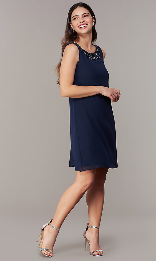 Image of short wedding-guest shift dress with jacket. Style: IT-9170367 Detail Image 1