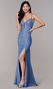 Image of long glitter-knit strappy-back sapphire prom dress. Style: DJ-A8051 Front Image
