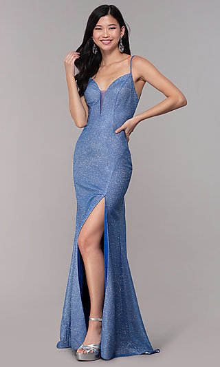 Long Glitter-Knit Strappy-Back Sapphire Prom Dress