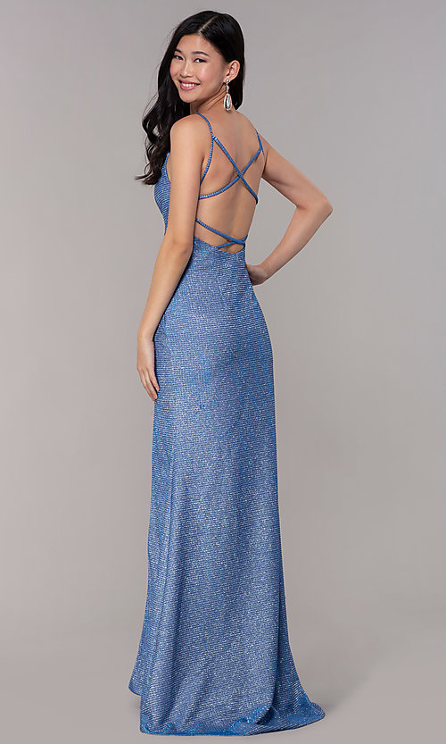 Image of long glitter-knit strappy-back sapphire prom dress. Style: DJ-A8051 Back Image