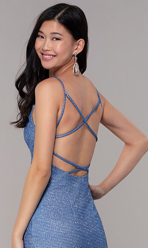 Image of long glitter-knit strappy-back sapphire prom dress. Style: DJ-A8051 Detail Image 2