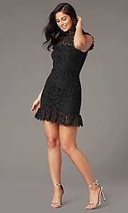 Image of lace high-neck little black party dress. Style: STO-SD1047A-B Front Image