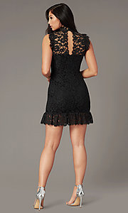 Image of lace high-neck little black party dress. Style: STO-SD1047A-B Back Image