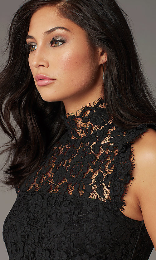 Image of lace high-neck little black party dress. Style: STO-SD1047A-B Detail Image 1