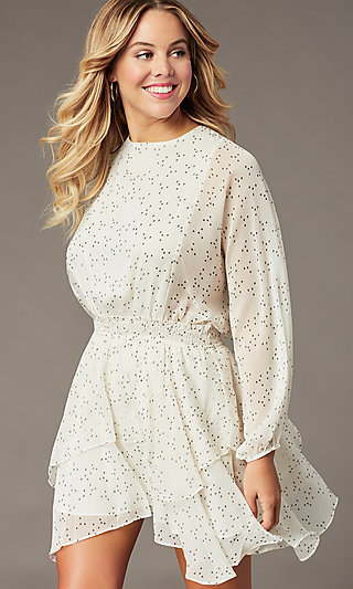 Long Sleeve Short Print Party Dress