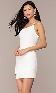 Image of off-white short one-shoulder grad party dress. Style: AC-DH24531E Front Image