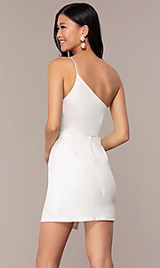 Image of off-white short one-shoulder grad party dress. Style: AC-DH24531E Back Image
