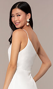 Image of off-white short one-shoulder grad party dress. Style: AC-DH24531E Detail Image 2