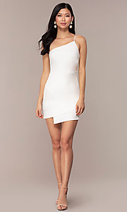 Image of off-white short one-shoulder grad party dress. Style: AC-DH24531E Detail Image 3