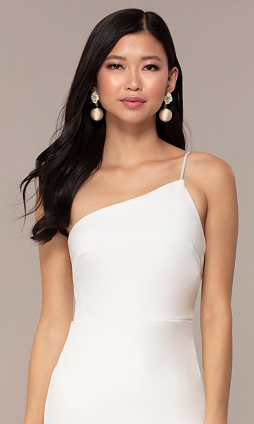 Image of off-white short one-shoulder grad party dress. Style: AC-DH24531E Detail Image 1