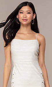 Image of short black-striped white graduation party dress. Style: AC-DH24533E Detail Image 1
