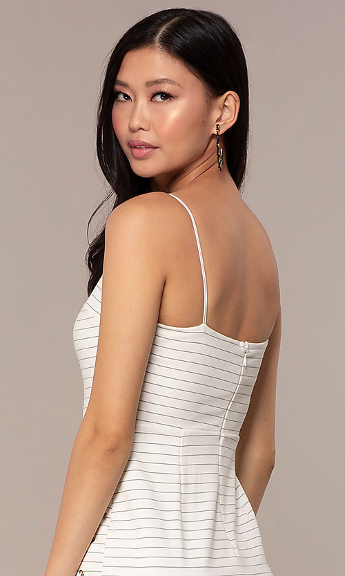 Image of short black-striped white graduation party dress. Style: AC-DH24533E Detail Image 2