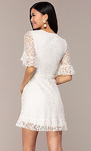 Image of short lace wrap graduation dress with sleeves. Style: AC-DHH24453E Back Image
