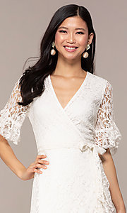 Image of short lace wrap graduation dress with sleeves. Style: AC-DHH24453E Detail Image 1
