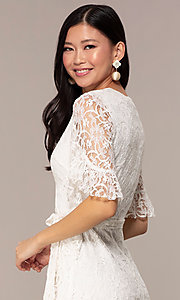 Image of short lace wrap graduation dress with sleeves. Style: AC-DHH24453E Detail Image 2