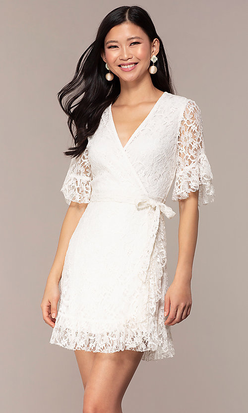 Image of short lace wrap graduation dress with sleeves. Style: AC-DHH24453E Front Image