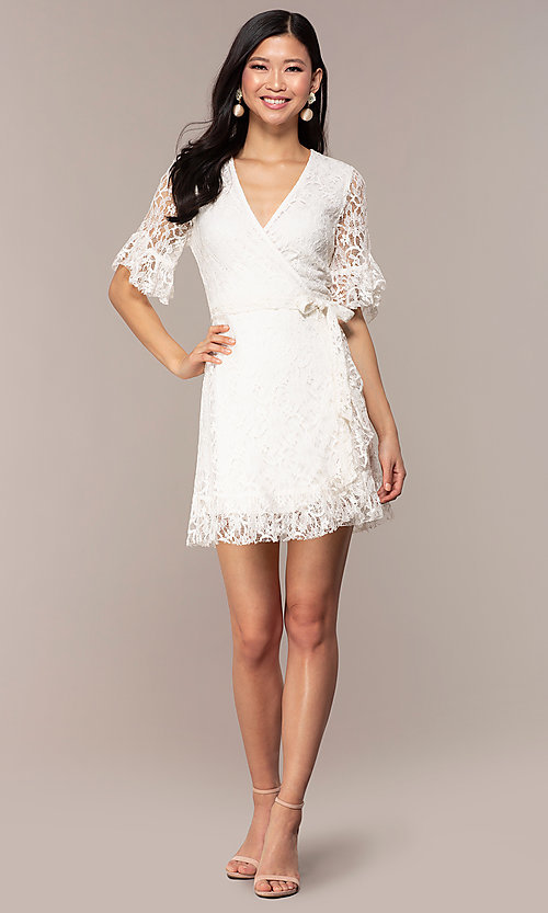 Image of short lace wrap graduation dress with sleeves. Style: AC-DHH24453E Detail Image 3