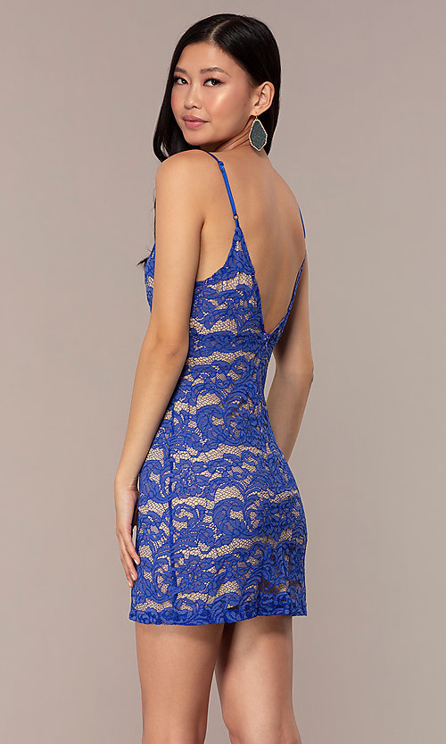 Image of short empire-waist royal blue lace party dress. Style: AC-DHS24468B Back Image