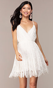 Image of short lace v-neck graduation party dress. Style: AC-DS23512B Front Image