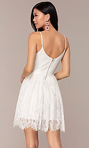 Image of short lace v-neck graduation party dress. Style: AC-DS23512B Back Image