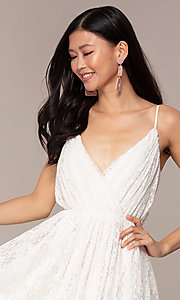 Image of short lace v-neck graduation party dress. Style: AC-DS23512B Detail Image 1