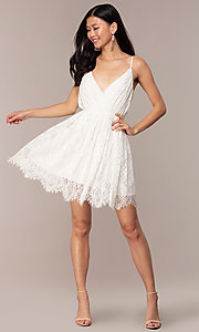 Image of short lace v-neck graduation party dress. Style: AC-DS23512B Detail Image 3