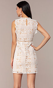 Image of short high-neck lace graduation party dress. Style: AC-DS24755B Back Image